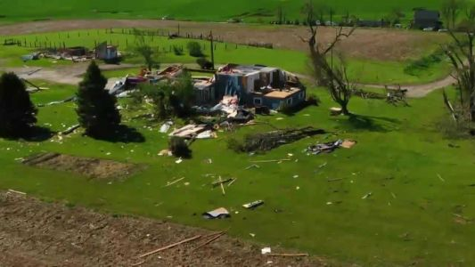 Sky8 video shows tornado damage in Adair