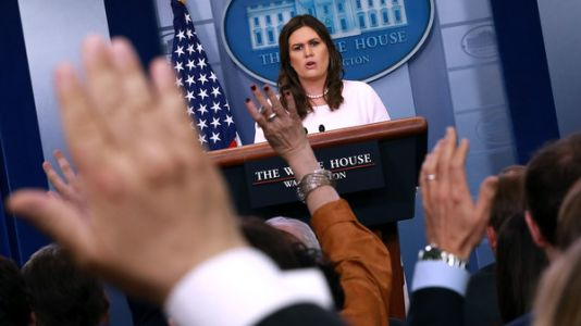 In the White House Press Room, Sarah Sanders Channels President Trump