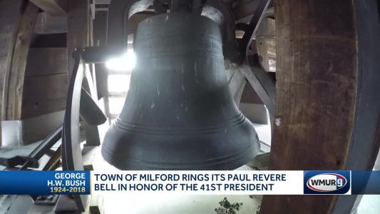 Town of Milford rings bell cast by Paul Revere in honor of George H.W. Bush