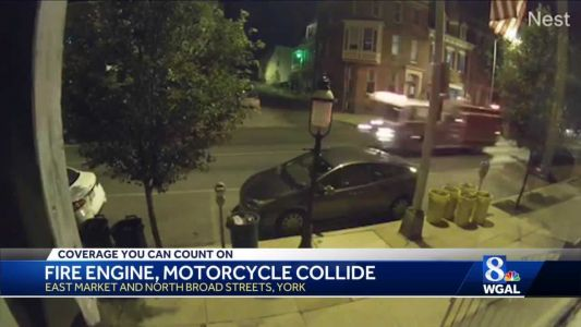 York fire engine crashes into motorcycle