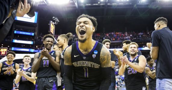 March on: Huskies' ballhawking defense gets them past Utah State in NCAA tournament opener