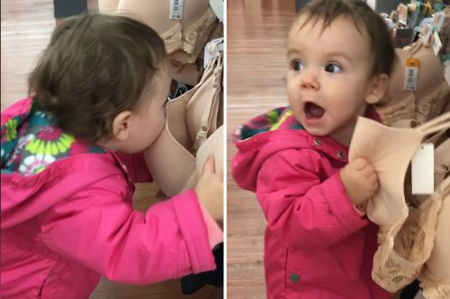 Adorable toddler tries to get milk out of a bra at Walmart