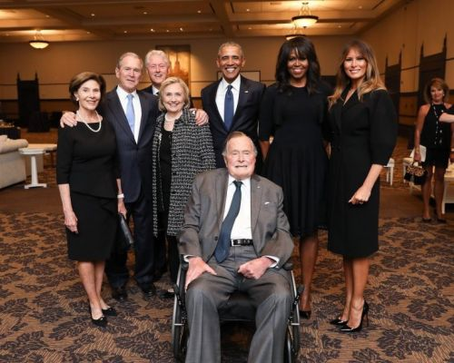 Remarkable photo shows 4 presidents, 4 first ladies at funeral for Barbara Bush