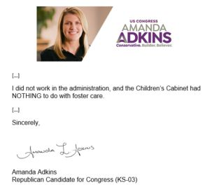 SHOT/CHASER: No Matter How Hard She Tries, Amanda Adkins Still Can't Hide from Brownback Ties