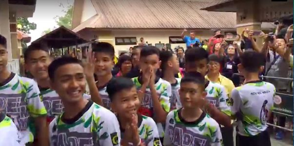 Video shows the rescued Thai soccer team leaving hospital for the first time since being saved