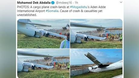 Cargo plane ploughs into barrier after crash-landing at Mogadishu airport