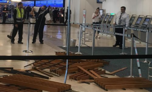 Officials: Wooden slabs fall near OIA ticket counter, 4 hit by debris