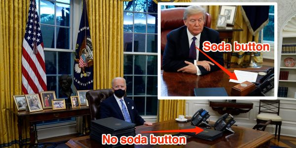 Biden appears to have removed the button Trump used to order Diet Cokes from the Oval Office desk