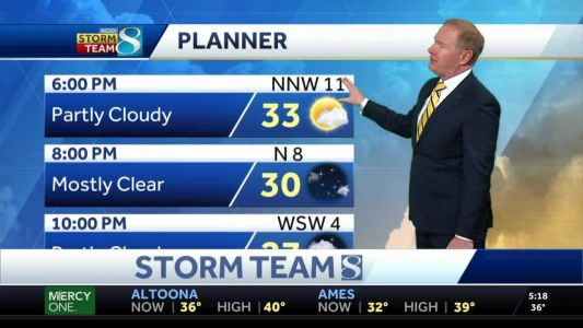 Clouds increase this evening, snow possible to the north
