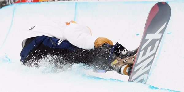 16-year-old Japanese snowboarder suffers horrifying fall in men's halfpipe and gets taken out on str