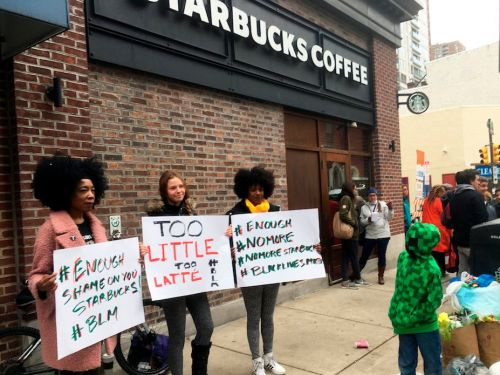 People are posting photos of themselves drinking coffee from chains like Dunkin' Donuts and Burger King to protest Starbucks after the arrest of 2 black men