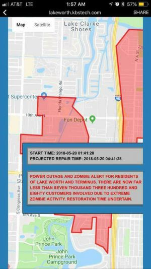 'Zombie alert for residents': Florida town surprised by city's message during power outage