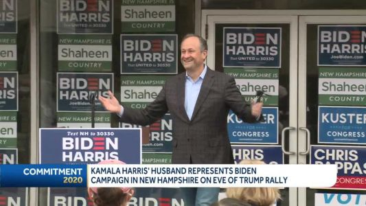 Kamala Harris' husband campaigns in NH one day before President Trump rally