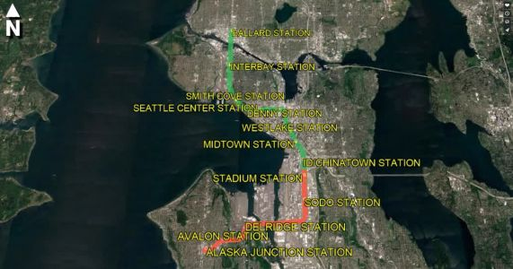 Video: flying over a Ballard-to-West Seattle light-rail route