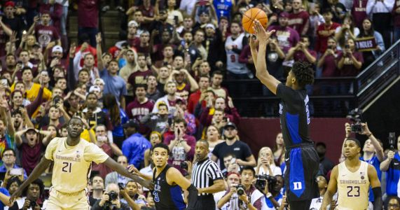 Reddish hits 3 to lift No. 1 Duke over Florida State 80-78