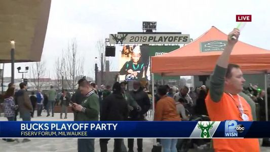 Fans flock to Fiserv Forum for Bucks playoff party