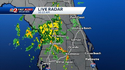 Storms, gusty winds moving through Central Florida