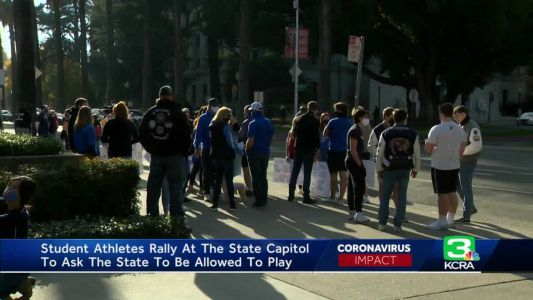 Student-athletes rally at State Capitol to protest COVID restriction on HS sports