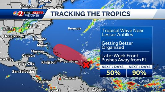 Tropical wave has 90 percent chance of developing