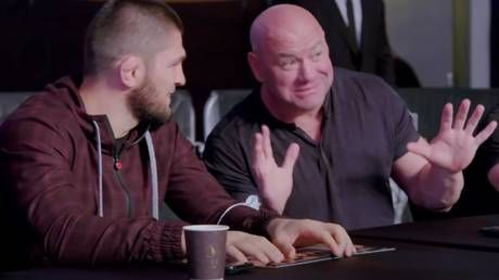 Dana getting desperate? UFC president spotted trying to convince Khabib to return during UAE Warriors MMA event