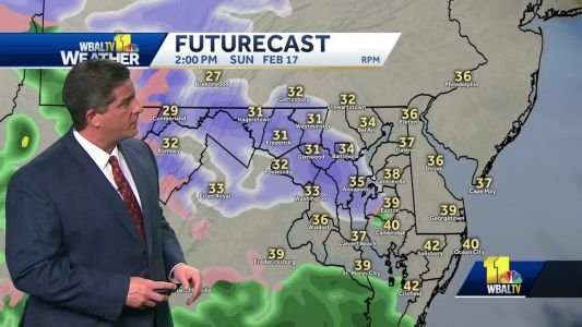 Rain, snow showers possible Sunday