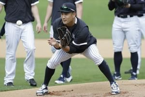 Yanks pitcher Tanaka alert after hit in head by Stanton blow