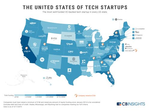 This map shows which states in the US are competing to top California-based Uber's $15.7 billion in equity funding