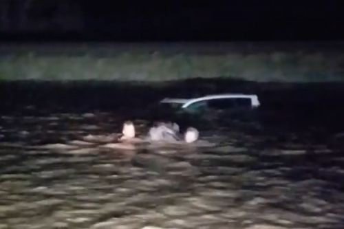 Passing motorist rescues woman trapped in flood