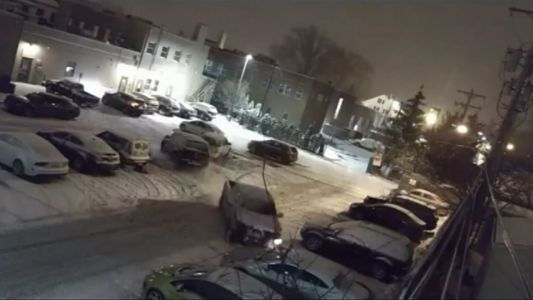Shocking video shows pickup truck crashing into vehicles in parking lot
