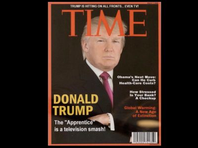 Trump has a fake Time Magazine cover with his face on it hanging in several of his clubs