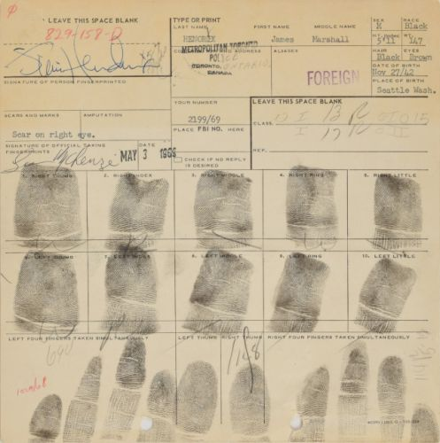 Jimi Hendrix's signed Toronto arrest card going up for auction