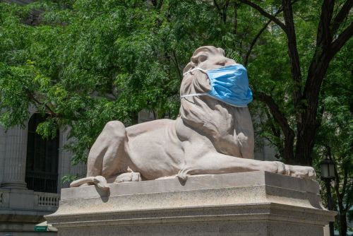 New York Public Library Lions Don Face Masks As City Reopens