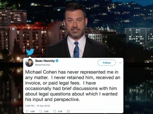 Best of Late Night: Colbert Revels in News of a Connection Between Hannity and Cohen