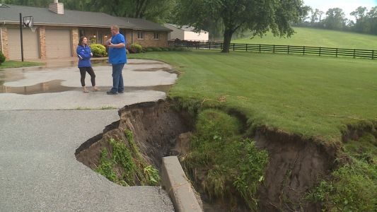 Severe flooding damages driveway in Pottawattamie County