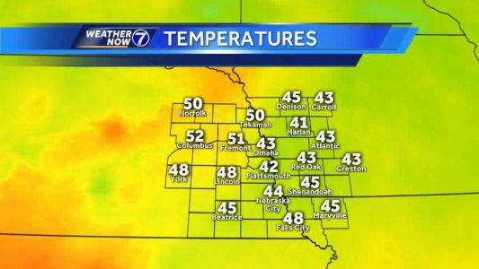 Temperatures in the 40s and 50s Friday afternoon