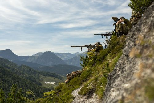 NATO snipers have been performing high-angle shooting way up in the Austrian Alps - and the images are stunning