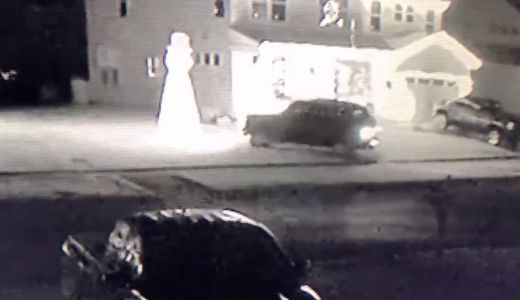 'Grinch' caught on camera plowing through yard, destroying Christmas display