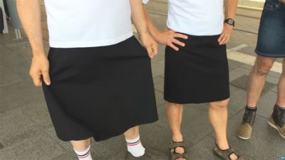 Sun's out, gams out? Men wear skirts to protest ban on shorts during heatwave