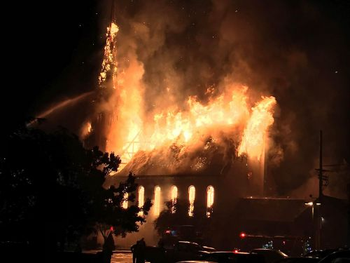 Heavy flames consume historic church in Wakefield