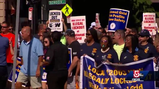 Several hundred march in Boston to support locked-out National Grid workers