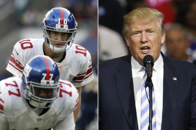 Is Eli Manning hollering 'Trump' as a Giants audible?