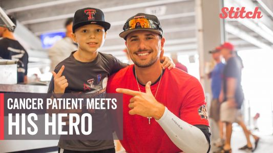 Boy, 7, finishes cancer treatment, meets Texas Tech pitcher