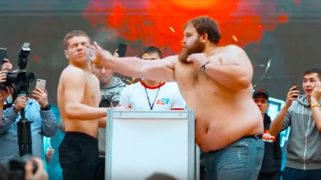 'We need this in the Olympics ASAP!': Russian 'male slapping championships' proves huge hit