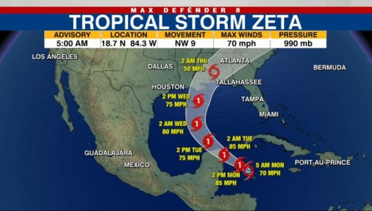 Tracking the Tropics: Zeta gaining strength, will likely become hurricane