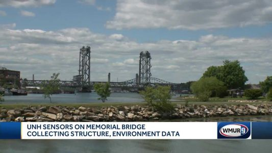 Sensors placed on Memorial Bridge by UNH researchers collecting structure, environment data