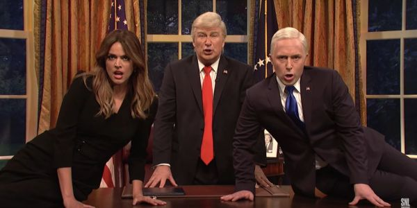 Alec Baldwin joined Melania, Kanye, and more from Trump's entourage to sing 'Don't Stop Me Now' on 'Saturday Night Live'
