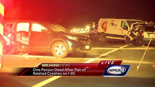 Woman dead after pair of related crashes on I-95