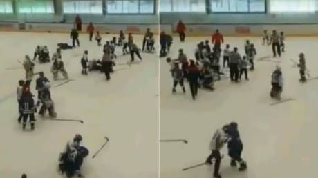 Taking the kid gloves off: Mass brawl between 11yo players breaks out at Russian ice hockey tournament