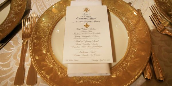 WATCH: Trumps host 1st state dinner for France's Macrons