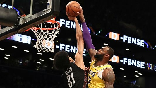 LeBron James on having dunk blocked by Jarrett Allen: 'It happens'